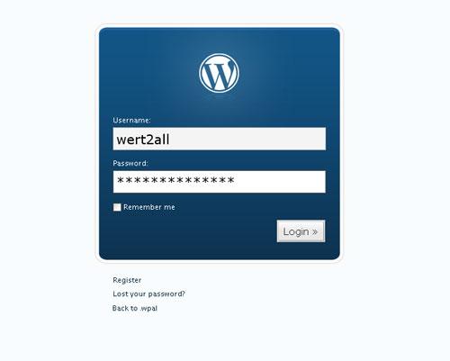 Окно логина в новеньком WordPress